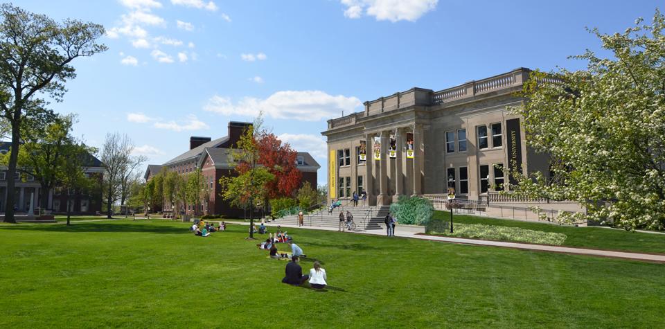 Студенты отдыхают во дворе университета