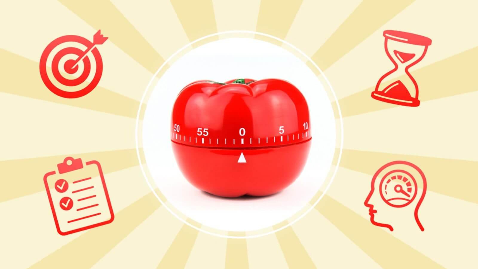 Таймер-помидор в центре
