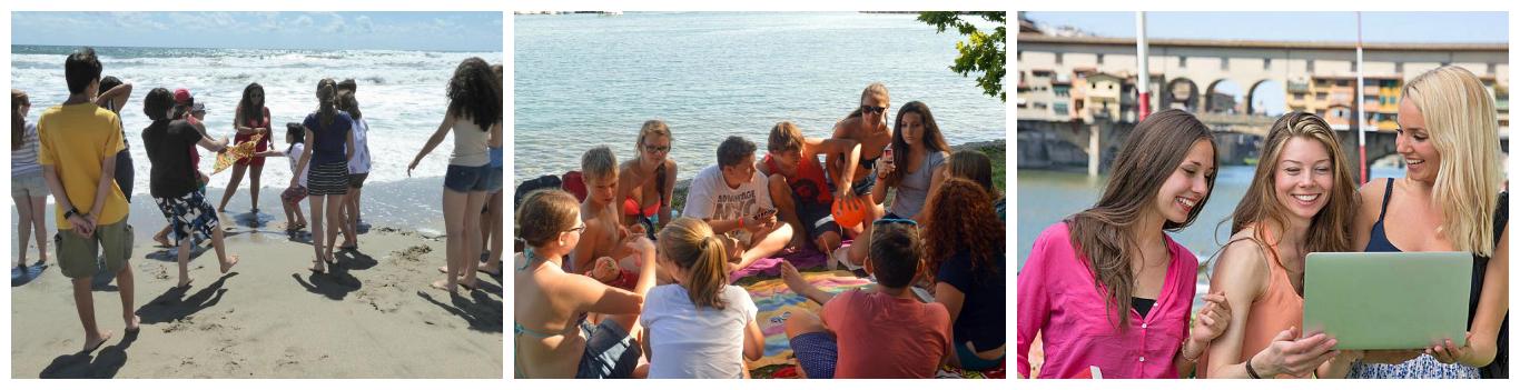 коллаж дети на летних каникулах в Италии