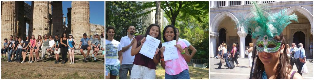 коллаж дети на каникулах в Италии