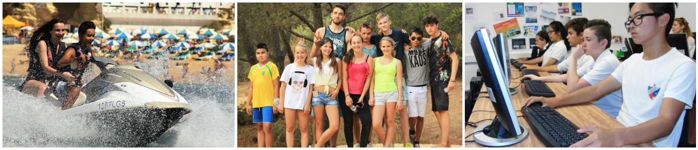 коллаж дети в языковом лагере в Португалии
