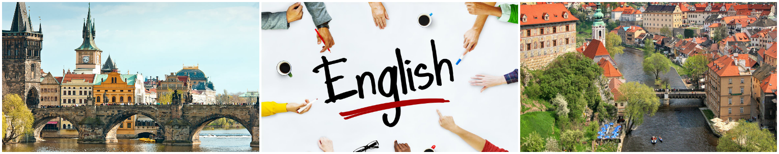 коллаж изучение английского языка в Чехии