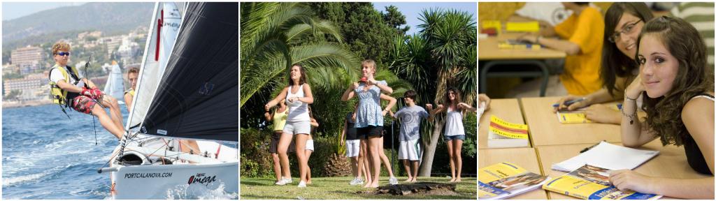 коллаж дети в летнем лагере в Испании