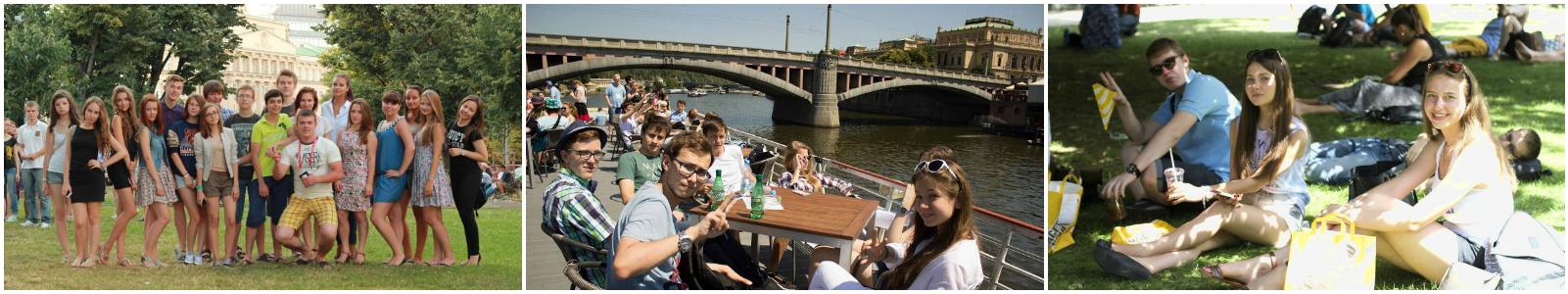 коллаж дети в летнем языковом лагере в Праге