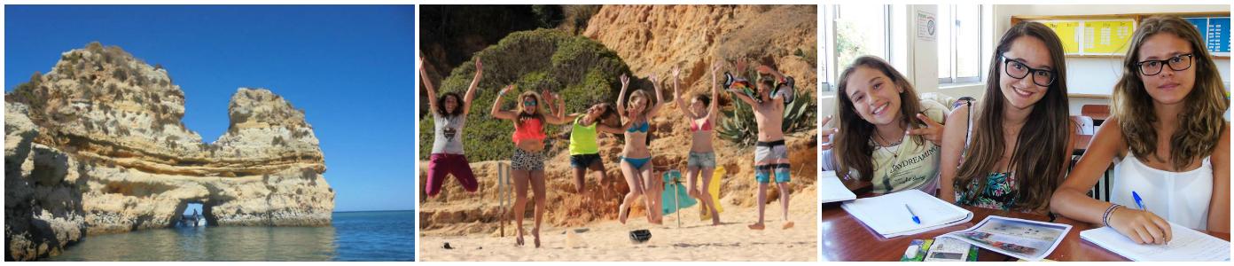 коллаж дети в летних лагеря в Португалии