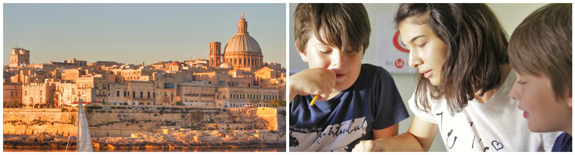 коллаж дети на весенних каникулах на Мальте