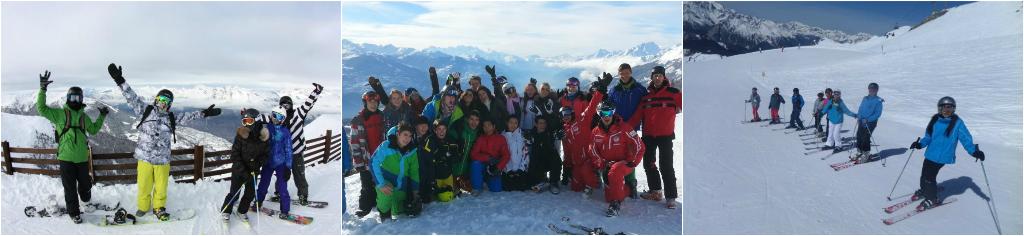 коллаж дети в зимних яызковых лагерях в Швейцарии