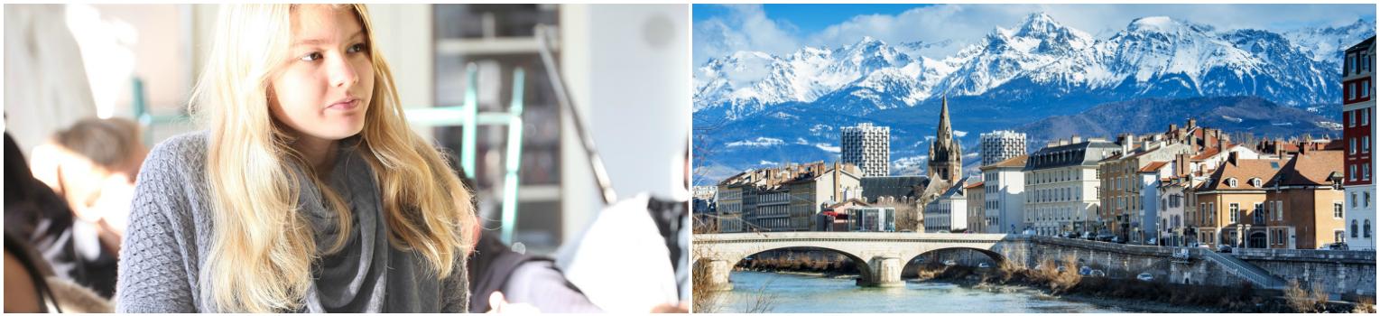 коллаж ученица на зимних каникулах во Франции