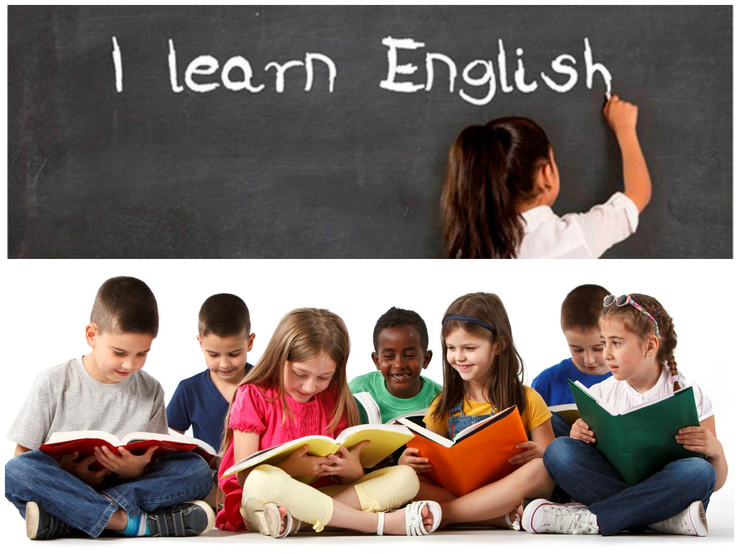 діти з книжками вчать англійську за кордоном