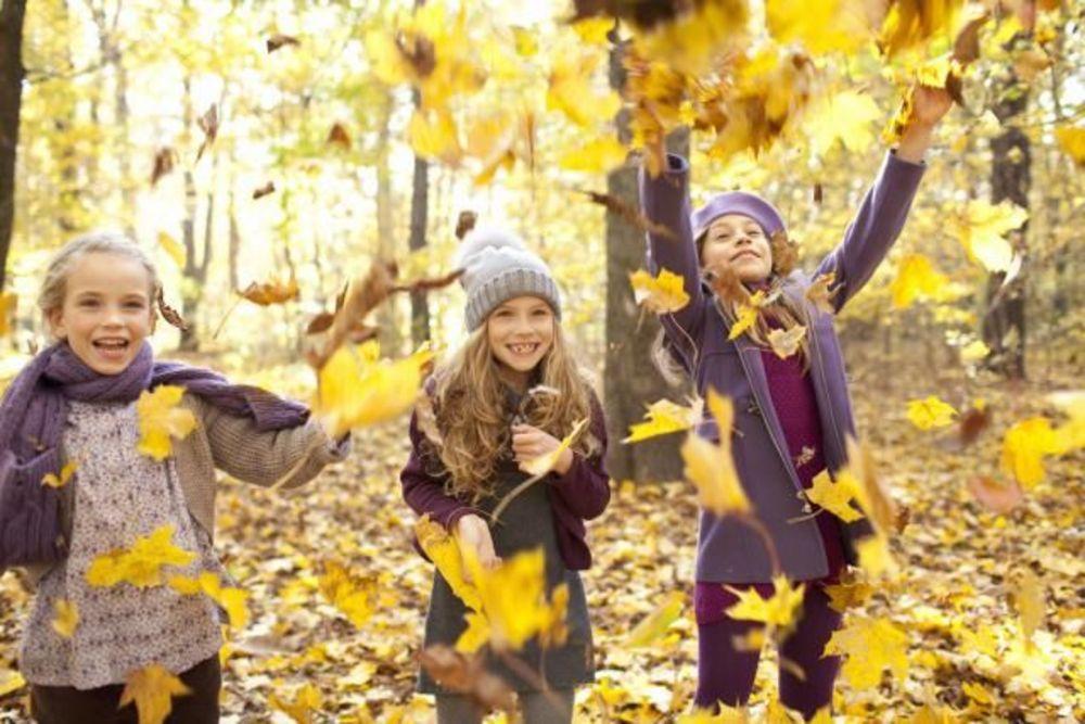 дети в парке осенью за границей