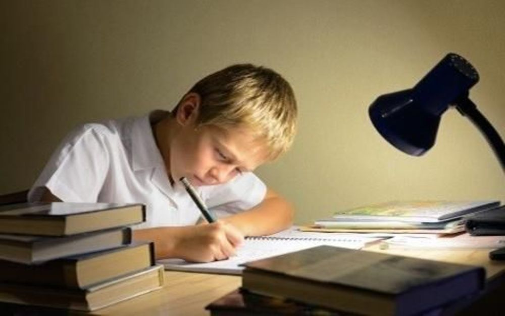 мальчик сосредоточено пишет в тетрадке