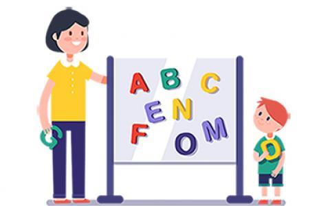 Мама учит иностранный язык с ребенком