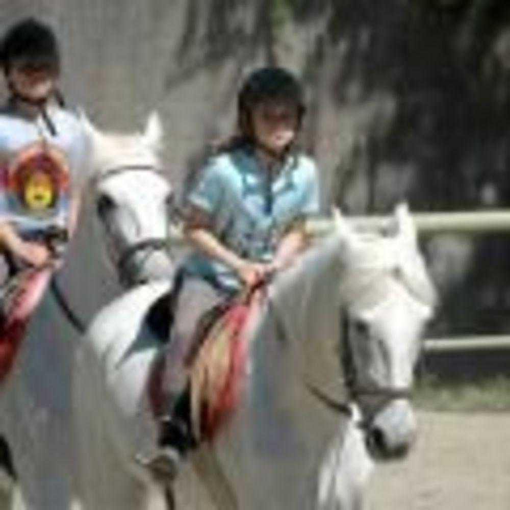 дети на занятиях по верховой езде в лагере King's College, The British School of Madrid